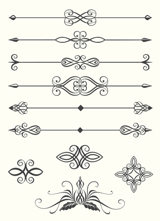 divider: Collection of line dividers and calligraphic emblems