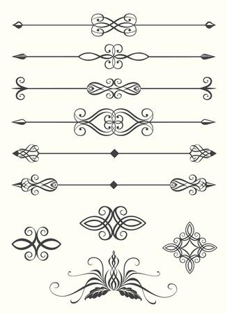 Het verzamelen van lijn verdelers en kalligrafische emblemen Vector Illustratie