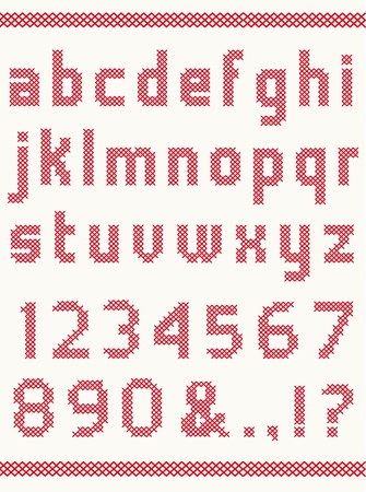 cross stitch: Cross stitch alphabet with numbers Illustration
