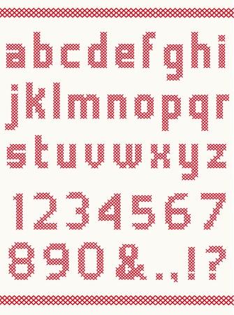 punto cruz: Cruz alfabeto puntada con los números
