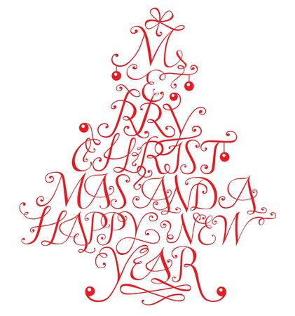 Typographic composition in form of a christmas tree
