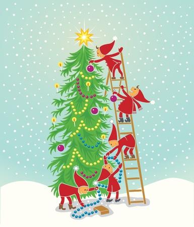tannenbaum: 5 cute Elfen schm�cken den Weihnachtsbaum