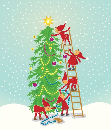 5 cute elfs decorating the christmas tree Stock Vector - 10942521