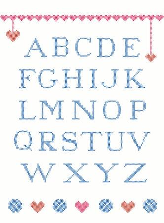 punto croce: Croce alfabeto punto con elementi di design adatto per Natale
