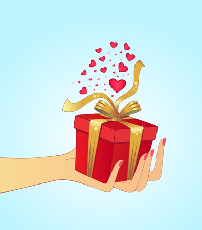 Hand holding gift, suitable for christmas or Valentine Vector