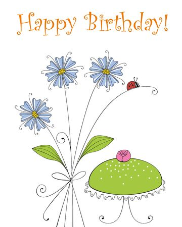 Birtday greeting card with birthday cake and a ladybug