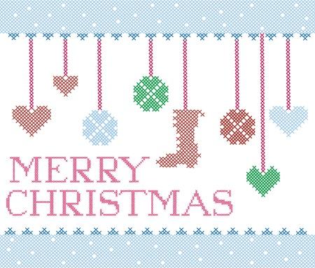 Christmas cross stitch design elements Vector