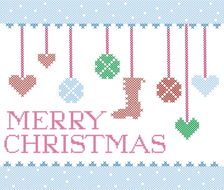 Christmas cross stitch design elements Vector