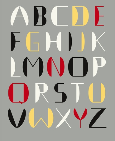 modernism: Alphabet constructe of simple shapes. To use as drop caps or titles