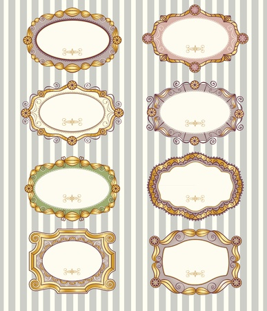 Set of 8 different vector vintage labels Vector