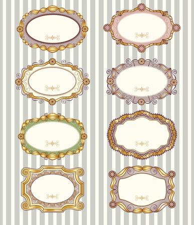 Set of 8 different vector vintage labels