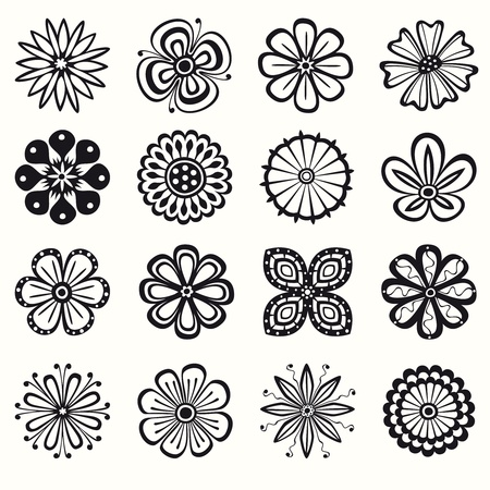 Collection of 16 different stylistic flowers in black and white Vector