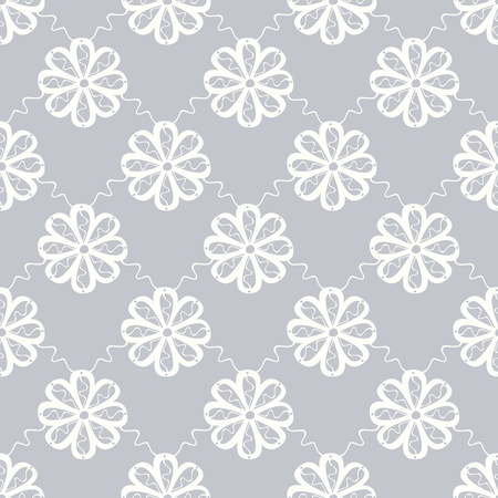 stylistic: Elegant seamless symmetric floral pattern with white single flowers on grey background