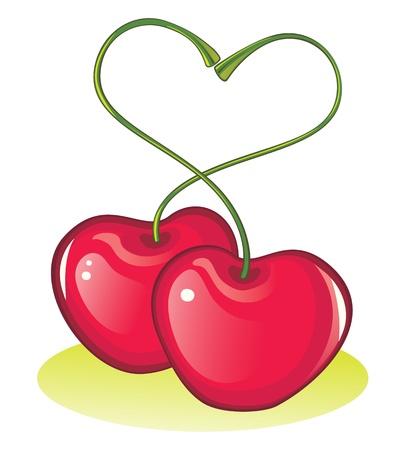 embraced: 2 glossy sweet cherries in love