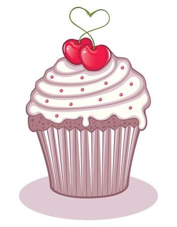 Love cupcake with 2 juicy cherries Vector