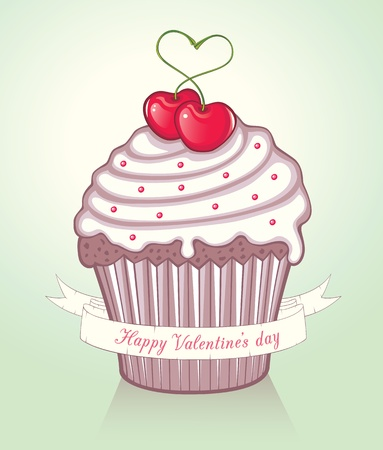 cupcake illustration: Valentine Cupcake with cherries and a banner with text Illustration