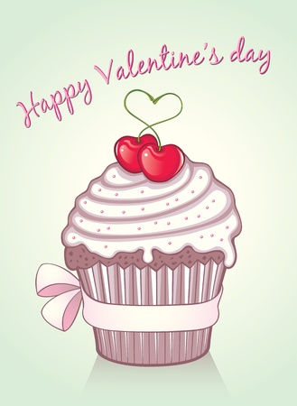 Lovely valentine cupcake with pink silk bow and 2 juicy cherries Vector