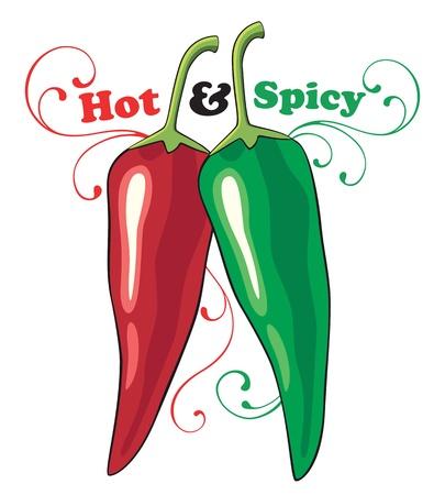 chiles picantes: Rojo y verde Hot Chili Peppers con remolinos ornamentales y de texto Vectores