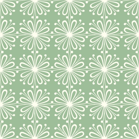 stylistic: Seamless symmetric pattern with white petals on green background
