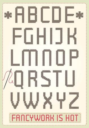 Cross stitch alphabet with sample text Illustration