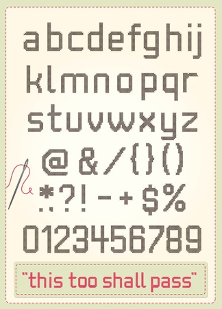 Cross stitch alphabet with punctuations, numbers, sample text and needle.