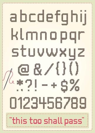 punto croce: Punto croce alfabeto con segni di interpunzione, i numeri, testo di esempio e ago.