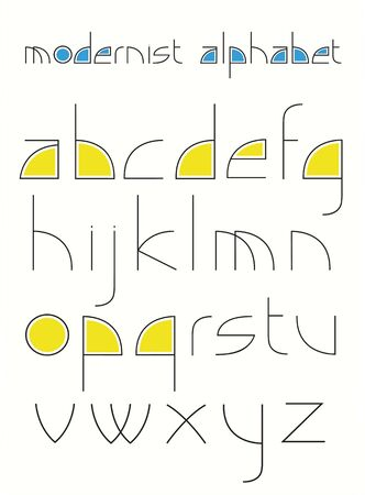 stylistic: alphabet made of simple shapes in a modernistic style