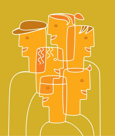 cubism: Group of people that are tight, colleagues at work or students at school