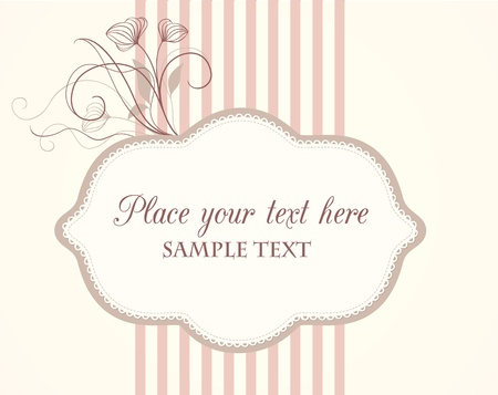 pink stripes: Cute vintage label with floral elements and sample text Illustration