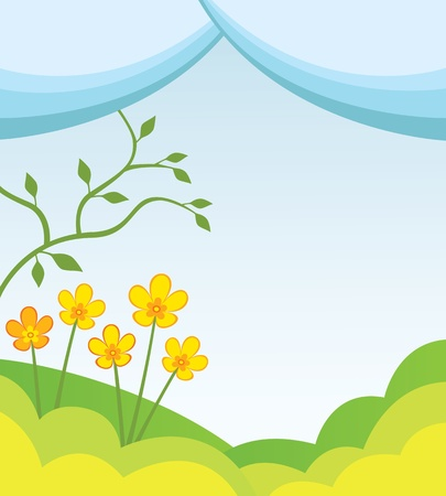 stylistic: Abstract spring background with hills, flowers and tree Illustration