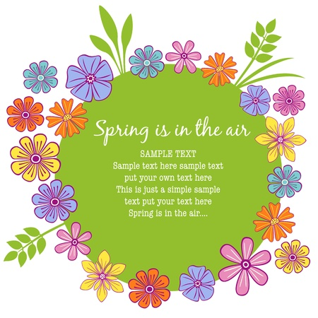 Floral frame with colorful petals and a springy feeling Vector