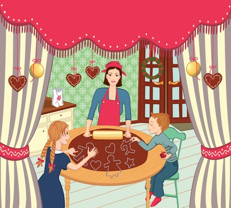 Family baking ginger snaps for christmas Vector