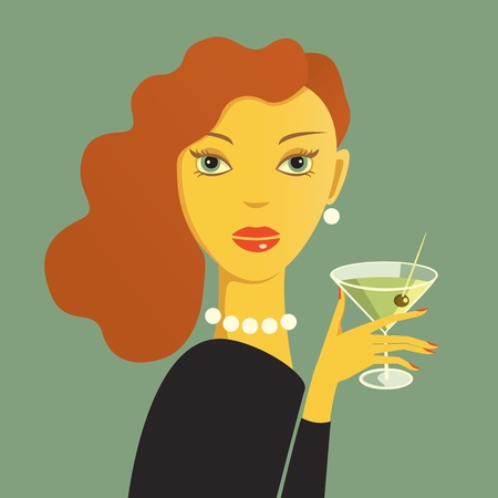 fatale: Reda haired woman with dry martini