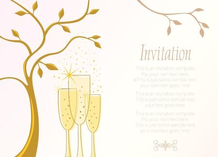 Modèle d'invitation élégante avec des verres de champagne et le lieu pour le texte