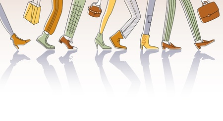 woman legs: City people rushing to work Illustration