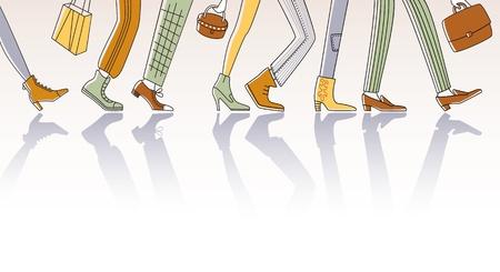 caminar: Gente de la ciudad por tierra para trabajar