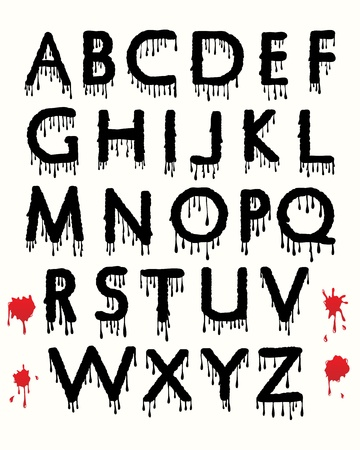 blood stain: Dripping blood alphabet