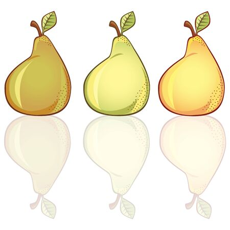 alimentary: 3 fresh pears in different colors,  Shadows contains transparency
