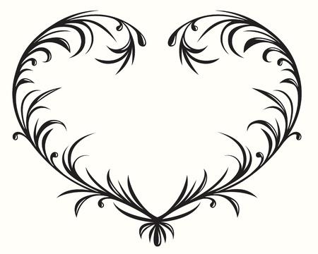 swashes: Flourishing heart, elegant design element  Illustration