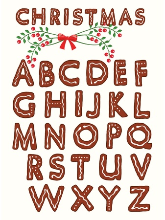 Ginger cookie alphabet with christmas design element Vector