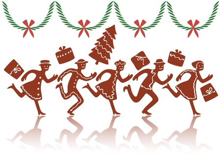 coronas de navidad: Christmas rush con figuras de galletas de jengibre