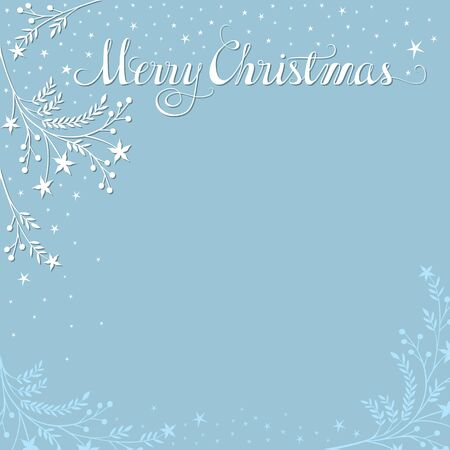 custom letters: Merry Christmas background with snowy branches. Plenty of space for your text