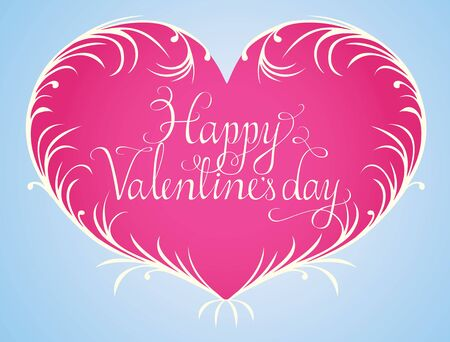 swashes: Calligraphic script text, Happy Valentines day surrounded by a heart shaped wreath. Elements can be used separate.