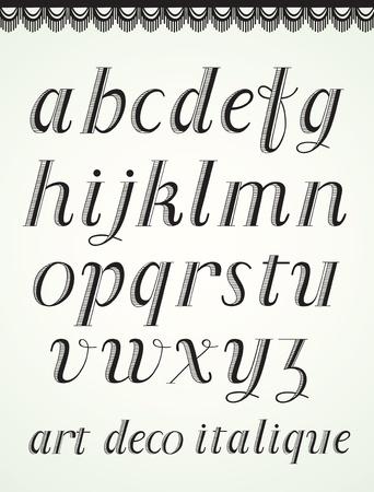 30 s: Art Deco Alphabet, Italique Small Caps Illustration