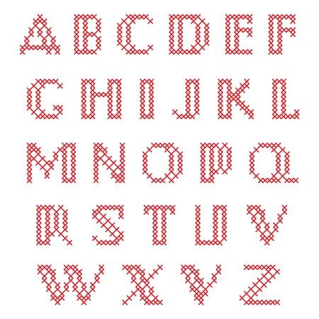cross stitch: Punto de Cruz alfabeto, letras min�sculas Vectores