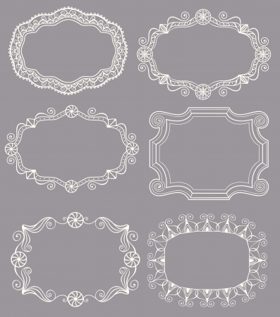 Sélection de 6 différents cadres de dentelle vintage