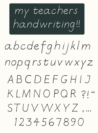 upper school: Handwriting alphabet with upper case and lower case letters and numbers Illustration