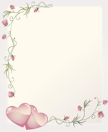 grens: Romantische achtergrond met rose takken