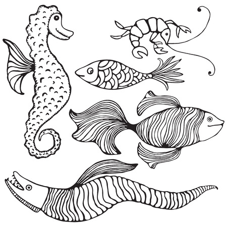 cartoons outline: Fish Collection Illustration
