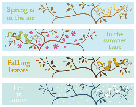 4 seasonal banners withs love brids Vector
